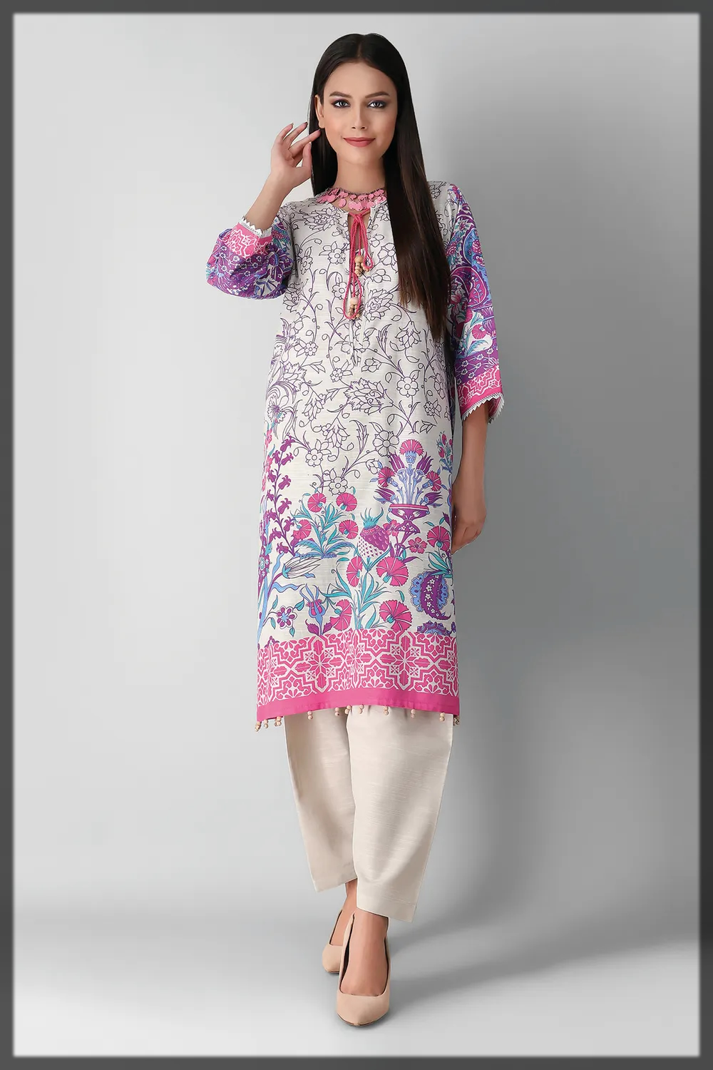 nude shaded khaddar suit for women