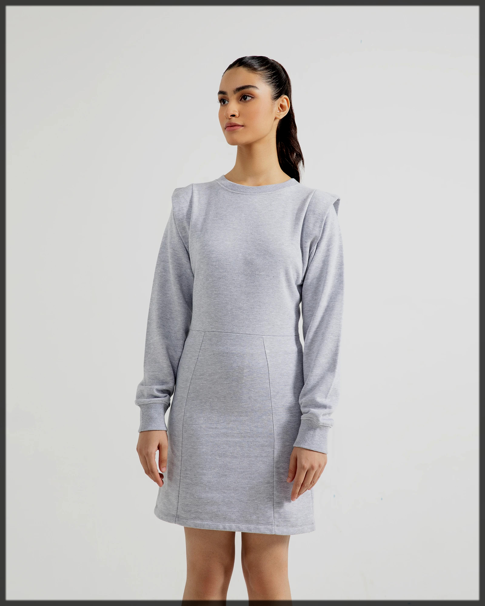 Jersey Dress with Pleat Detail