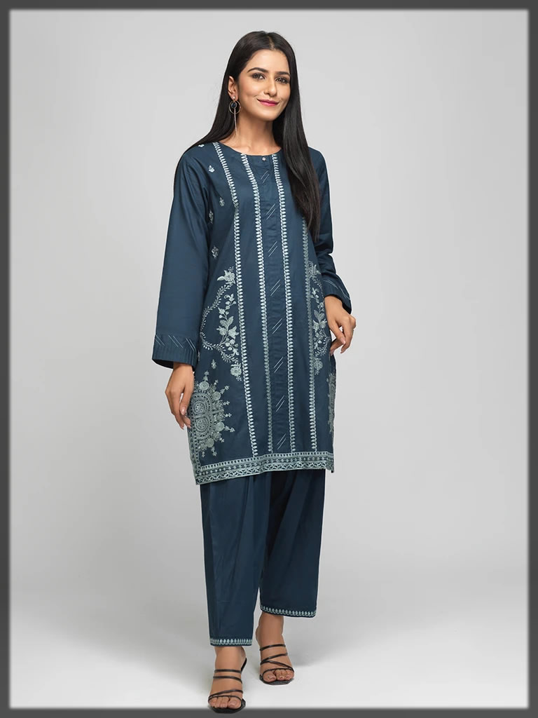 blue embroidered casual pret