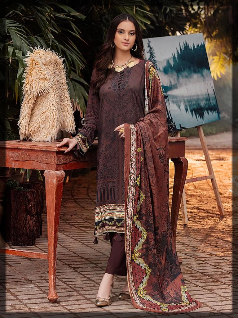 brown printed linen dress