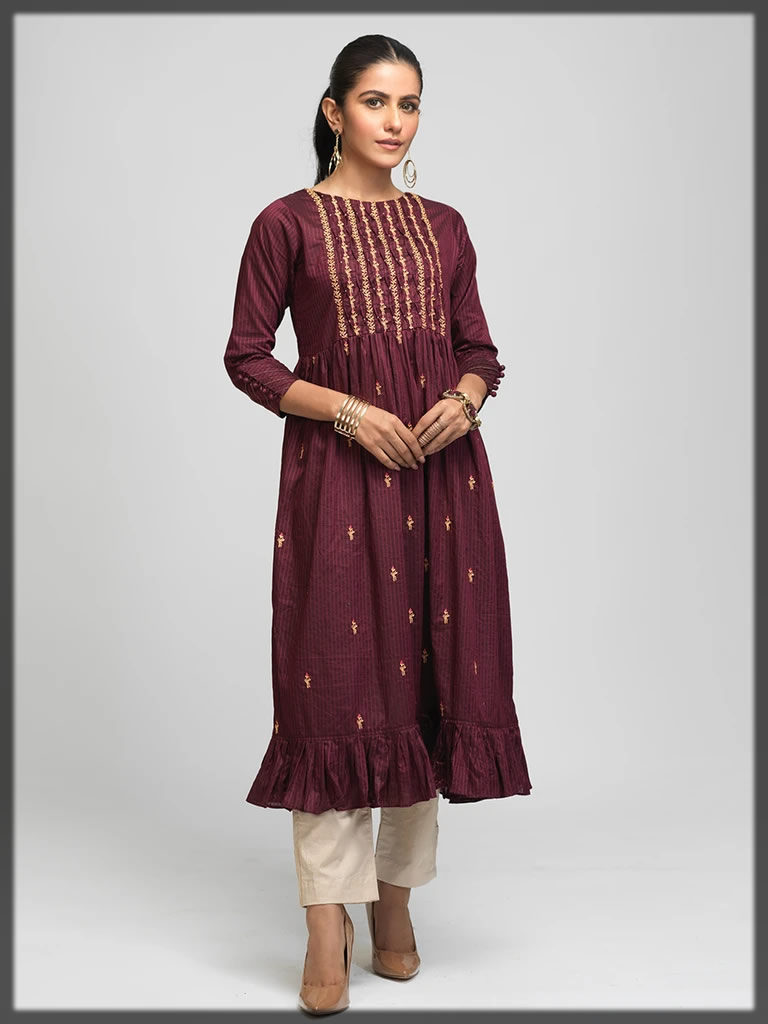 maroon embroidered pret frock
