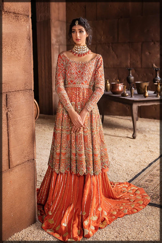 orange embellished raw silk bridal dress