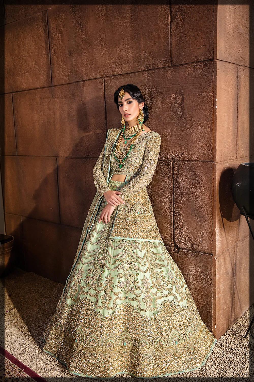pistachio green bridal dress
