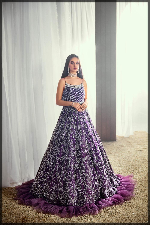 purple embellished bridal gown