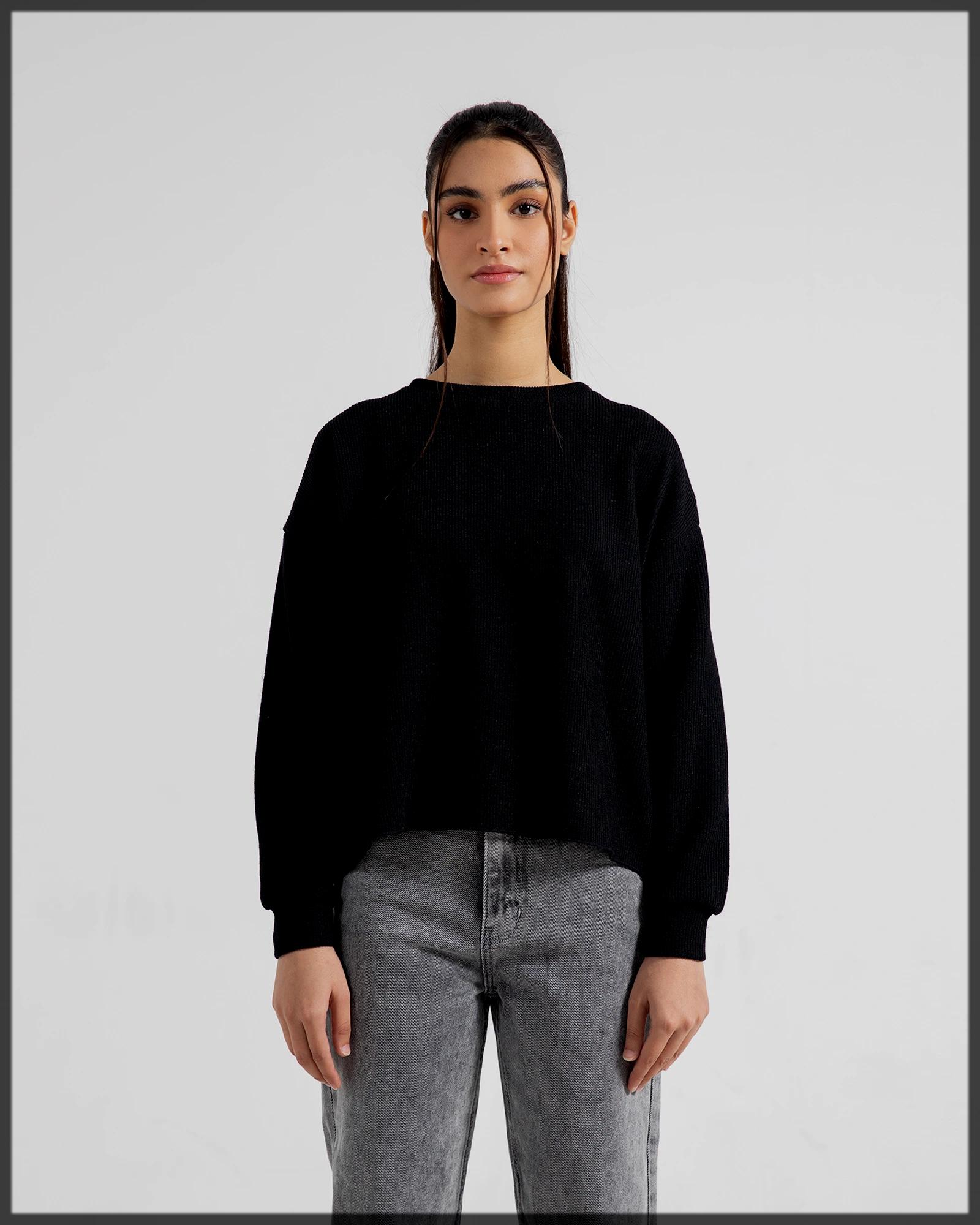 sleek black winter sweatshirt