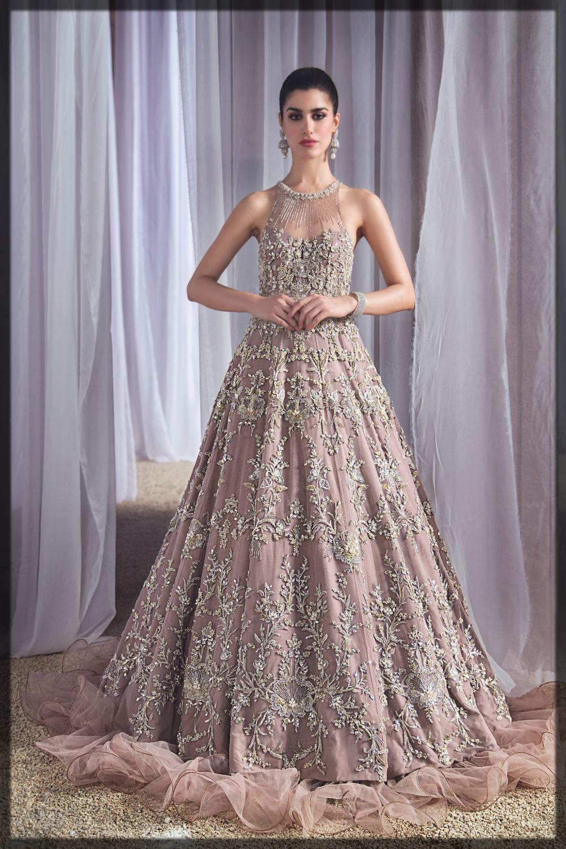 tea pink embellished bridal gown
